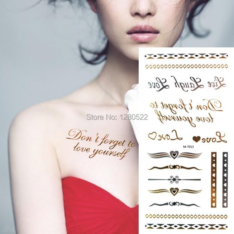 ᑐ2 hoja palabras flash tatuaje letras de amor plata oro metálico ...