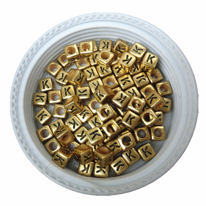 500pcs 2600pcs 6*6 Cube Gold Acrylic Letters Beads Diy Jwelry Findings Ornament Accessories Alphabet Plastic Initial Beads To Invigorate Health Effectively Jewelry & Accessories