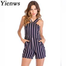 20cecde1dc Yienws Summer Off Shoulder Playsuit Women Combishort Stylish Striped  Elegant Jumpsuit Female Halter Beach Short Overalls YIT25