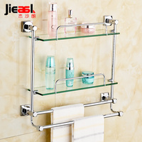 Bathroom copper glass shelf single layer bathroom shelf wall hanging bathroom mirror front frame makeup rack