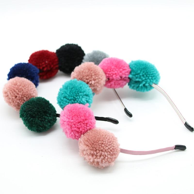 Yarn pomp 6cm cute pomp children hairband fashion winter style headband hair accessories hotmeini 33cmx69 6cm cute english