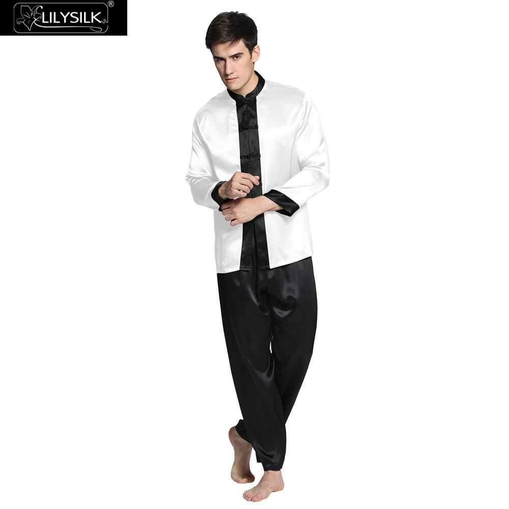 403c737a9f4bc LilySilk пижама мужская шелковые костюм белье установленные домашняя одежда  для мужчин 22 Momme классический шелк натуральный