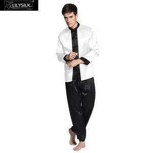 Image 1 - Lilysilk Nightwear פיג מה עבור גברים שינה טרקלין ארוך משי טהור 22 Momme זוג שרוול ארוך כפתורי אקזוטי הלבשת מותג יוקרה