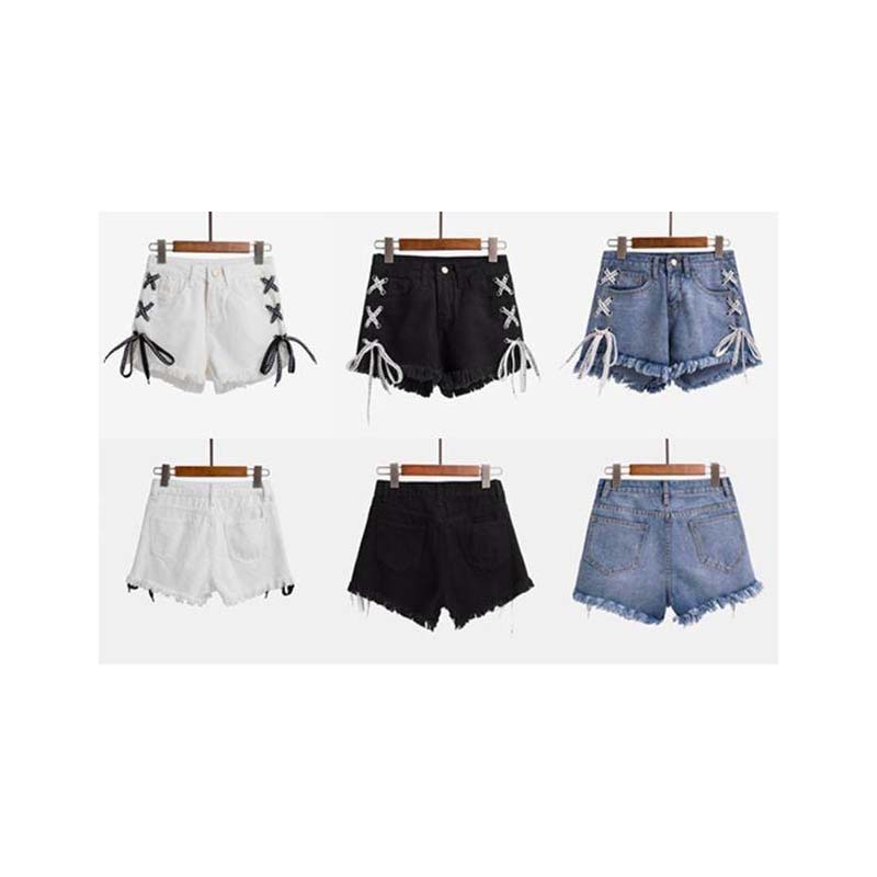 Tassel Ribbons Casual Denim Short Cotton Shorts High Waist Jean Woman Women Plus Size 5xxxxl Vintage Bottom Overalls  Jeans Girl