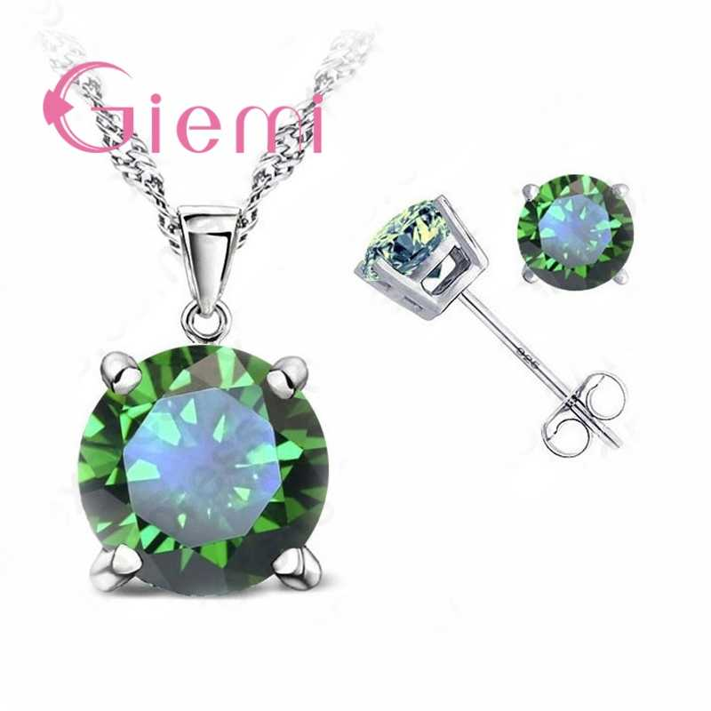 Pure 925 Sterling Silver Women Accessories Wholesale High Quality Jewelry Cubic Zirconia CZ 4 Claws Stud Earrings 8 Colors