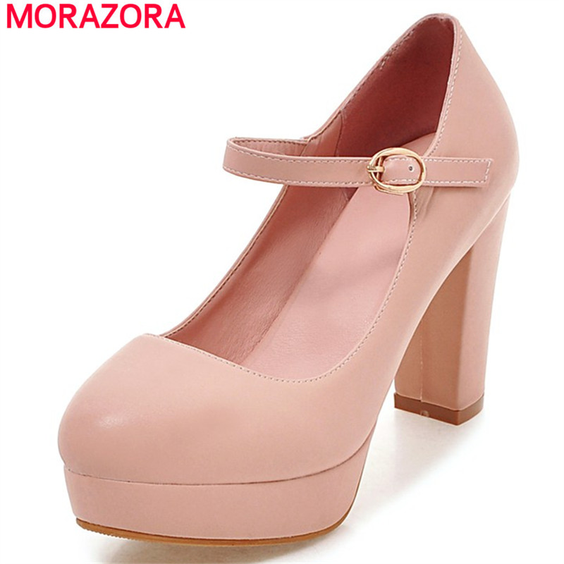 MORAZORA 2019 Hot sale shoes woman pumps buckle shallow platform shoes big size 32 43 elegant fashion high heels shoes solid-in Women's Pumps from Shoes on AliExpress - 11.11_Double 11_Singles' Day 1