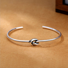 New Fashion Popular Silver Jewelry Bracelets Vintage Thai Style Love Tie Braided Female Bangles