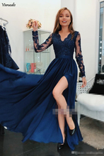 Modern Popular V-Neck Prom Dresses Long Sleeve Applique With High Split Graceful Girls A-line Evening Gowns