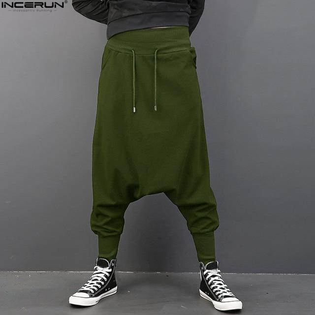 INCERUN Plus Hiphop gota entrepierna pantalones hombres elástico cintura  Harem danza pantalones Hakama gran tamaño sólido d51a5e5a309