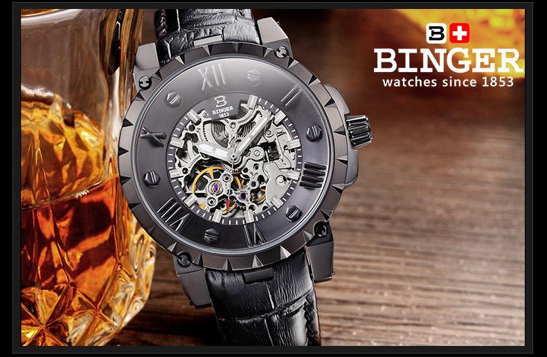 Švicarska BINGE satovi muškarci luksuzni brand mehanički ručni - Muški satovi - Foto 4