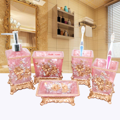 Pretty In Pink Bathroom Set Resin Wedding Gifts Bathroom Set Of Five Pieces Bathroom  Toiletries Kit Bathroom Accessories Set In Bathroom Accessories Sets ...