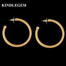 Kindlegem 2018 Top Selling Big Chain Twist Hoop Earrings For Women High Quality Gold Color Dubai African Beads Jewelry(China)