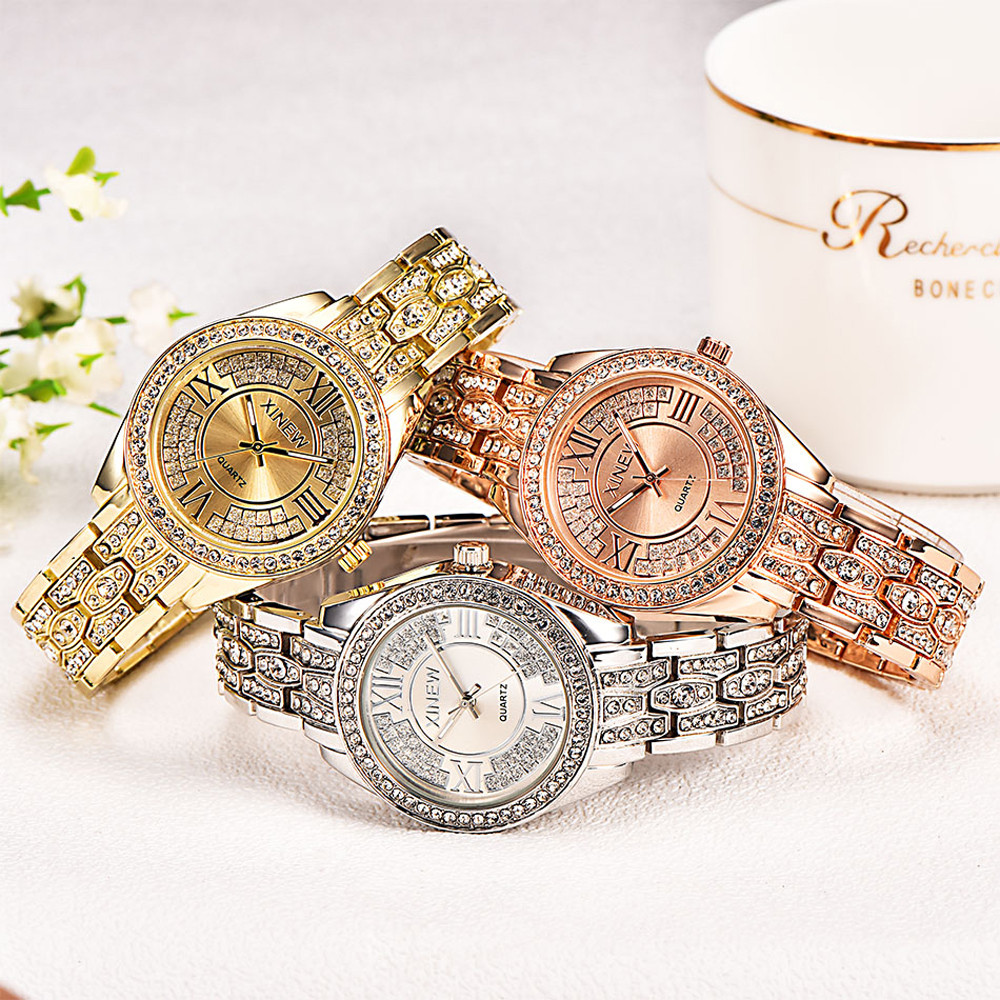 Brand XINEW Bracelet Watch Fashion Women Ladies Girl Stainless Steel Band Analog Quartz Wrist Watch Reloj Mujer wavy style fashion stainless steel quartz analog bracelet wrist watch for women golden 1 x 377