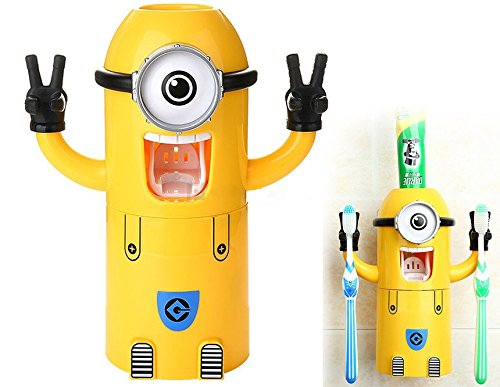 High-quality Cute Minions Design <font><b>Wash</b></font> Set Toothbrush Holder Automatic Toothpaste Dispenser with Brush <font><b>Cup</b></font> Yellow (One <font><b>Eye</b></font>)