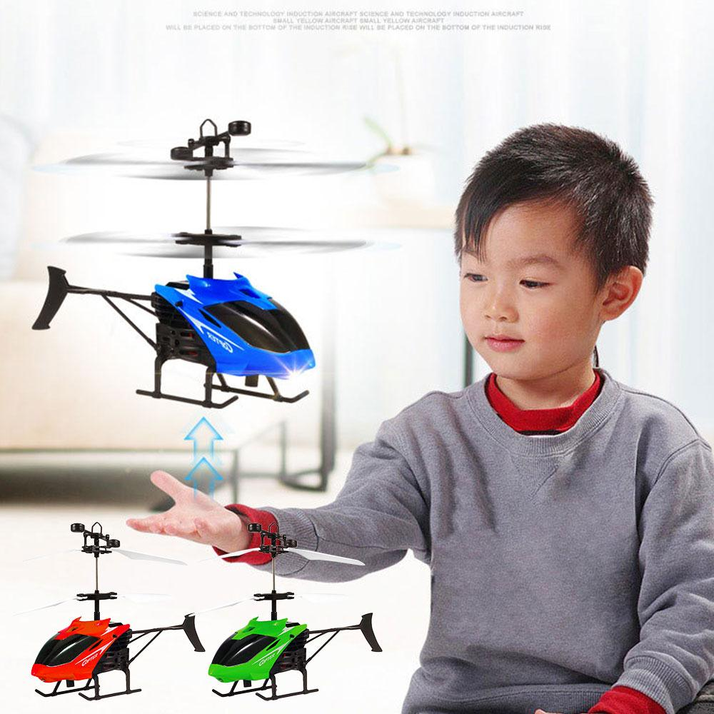 Flying Mini RC Infraed Induction Helicopter 2CH Model Aircraft RC Helicopter Anti-Impact Children Xmas Gift Toy