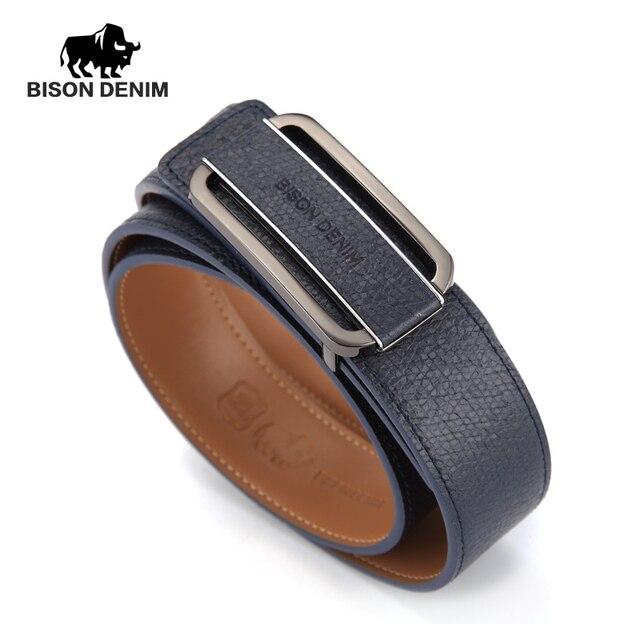 BISON DENIM 2016 New Quality Luxury Belts Mens Cow Leather Belt Brand Designer Men Belt Royal Blue Genuine Leather  N70951