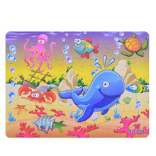 3D Paper jigsaw puzzles toys for children kids brinquedos Ocean World puzzle educational Baby Jellyfish Crab Puzles