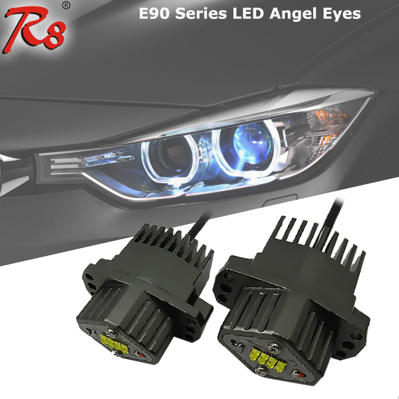 2X 40W Fit E90 E91 3 Series LED Angel Eyes Halo Ring Bulbs Marker Light White For BMW Xenon Headlight #63117161444 2x no errors xenon white 50w p13w c ree led bulbs drl for 2008 12 audi b8 model a4 or s4 with halogen headlight trims