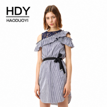 HDY Haoduoyi 2018 New Arrive Stripe Tie Waist Contrast Mini Dress Lace Cold Shoulder Frill Ruffled Neck Short Sleeve One Piece цена 2017