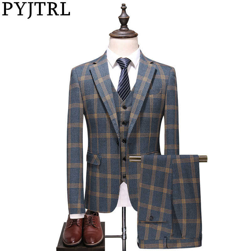 PYJTRL Men Fashion Plaid Designs Three-piece Set Suits Groom Tuxedos Wedding Slim Fit Business Casual Male Prom Dress Suits
