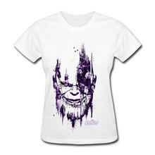 Infinity War Avengers Endgame Women T Shirt Thanos Smirk USA Marvel Movie T-Shirt Avengers 4 Powerful Smile Tshirt For Lady