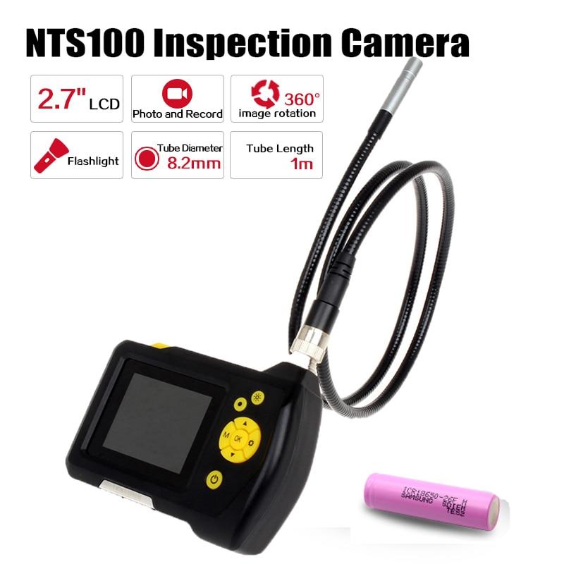 Blueskysea 1 metros de Diâmetro 8.2mm 2.7 LCD NTS100 Endoscópio Endoscópio Snake Inspeção Tubo Camera DVR