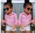 2015 novo bebê menina verão conjunto de roupas roupa dos miúdos rosa listrado blusa branca + shorts 2 pcs set roupas infantis de menina 897C