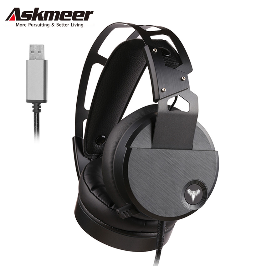 ASKMEER V18 USB Stereo Gaming Headset casque Big Earmuffs PC Gamer Headphones with Microphone LED Lights for Computer Game nubwo n2u pc gamer headset usb stereo gaming headphones with microphone mic led light best over ear casque computer game headset