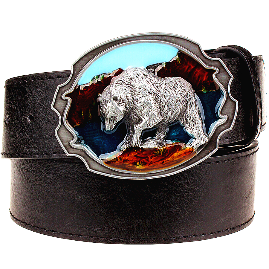 Fashion New leather belt metal buckle Polar bear belts punk rock exaggerated russian style trend decorative belt for men gift