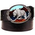 Nova moda cinto de couro fivela de metal cintos punk rock exagerada do urso Polar estilo russo tendência decorativa belt for men presente