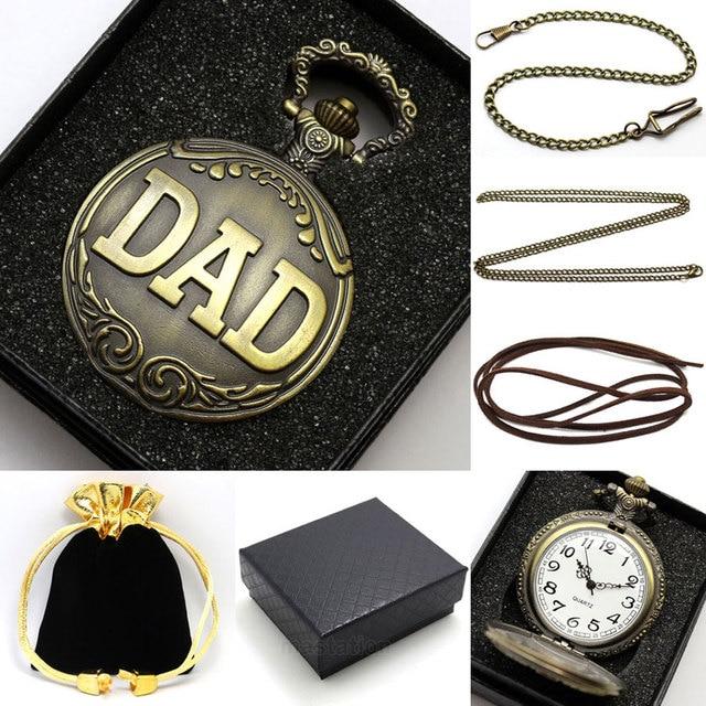 Bronze DAD Design Quartz Fob Pocket Watch for Men Hot Sale Retro Clock Pendant S