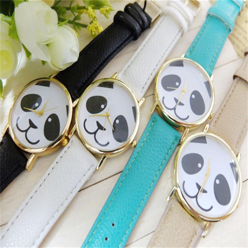 Gofuly 2020 Fashion Faux Leather Band Watch Women Casual Clock Relogio Feminino Panda Quartz Wrist Watch Relojes Mujer 2020
