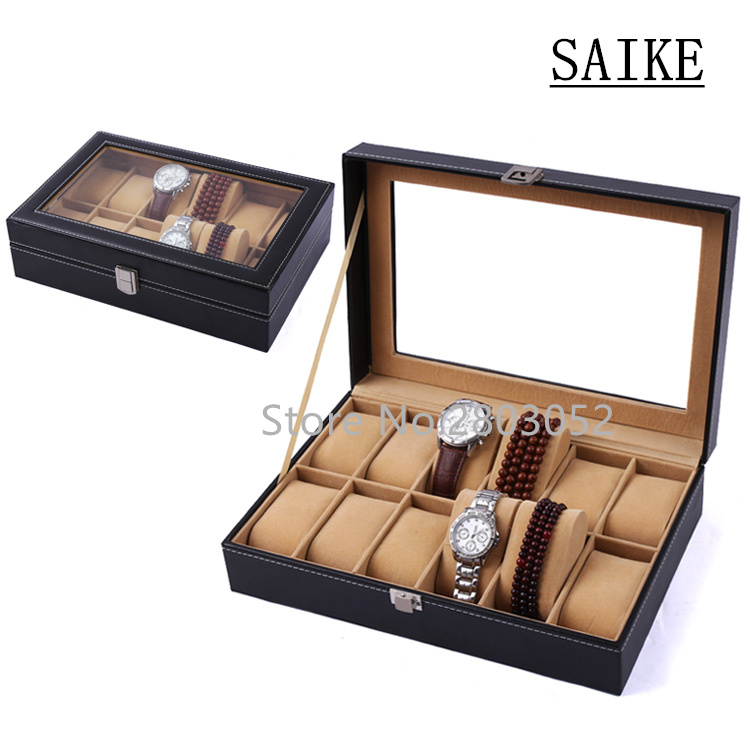 Free Shipping Khaki 12 Grids PU Watch Box Brand Watch Display Watch Box Watch Storage Boxes Rectangle Gold Pillow Gift Box W029 free shipping 6 grids watch display box black high light brand mdf watch box fashion watch storage packing gift boxes case w026