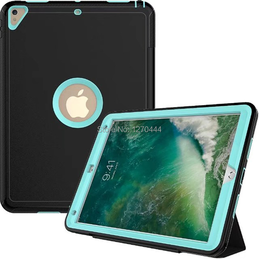 360 Full protection Case For iPad Pro 10.5 2017 Kids skin Safe Shockproof Heavy Duty PC Hard Cover kickstand model A1701 A1709 new tablet case for apple ipad pro 10 5 inch a1701 a1709 deethx heavy duty shockproof hybrid rubber rugged hard safe cover case