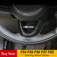 Steering Wheel Carbon Fiber Decals Cover Case Sticker Interior Mouldings For MINI Cooper F56 F55 F54 F60 Countryman Car Styling