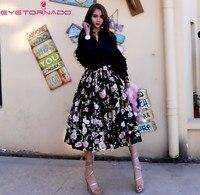 Korea style peach flower print ball gown skirt women spring autumn high waist black party work elegant tulle skater midi skirt