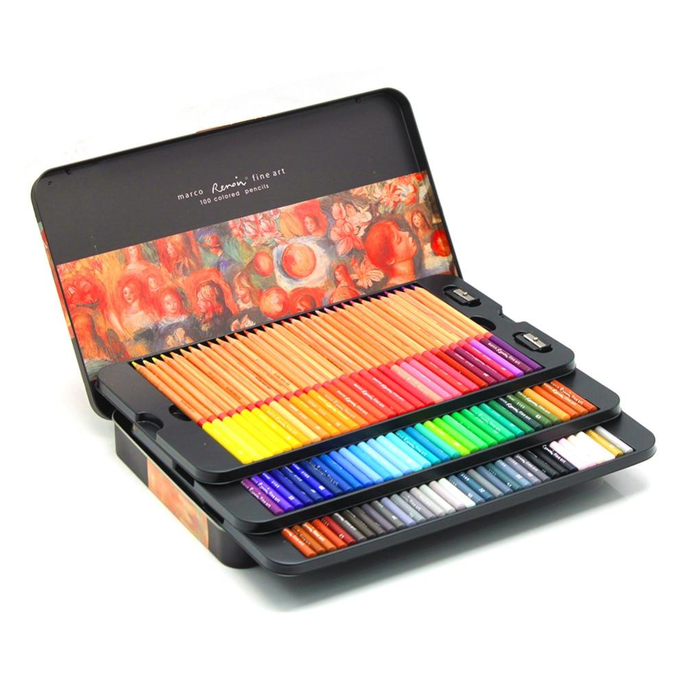 24/36/48/72/100 Marco Renoir de aceite de colores profesional lápices de dibujo del arte de pintura del bosquejo lápices de color 72 lápiz