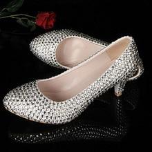 Silber Mittlere Ferse Schuhe Frühling Abschlussball-partei-pumpen-stilett hochzeit Schuhe Rabatt Brautjungfer Kleid Schuhe Strass Brautschuhe