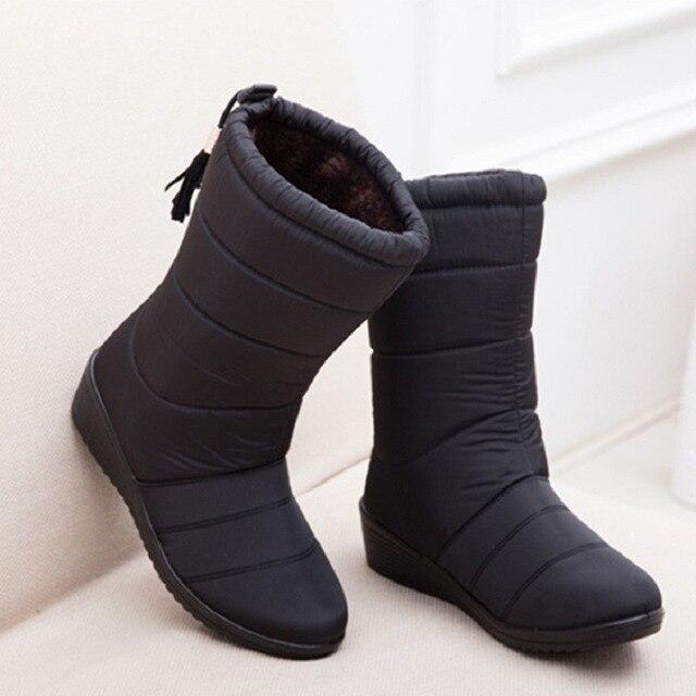 Nuevas Botas de invierno para Mujer Botas de invierno calientes impermeables al tobillo Botas de nieve zapatos de Mujer Botas de piel calientes para Mujer Botines Casuales