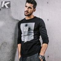 KUEGOU New Autumn Mens Fashion T Shirts 100 Cotton Print Black White Brand Clothing Man S