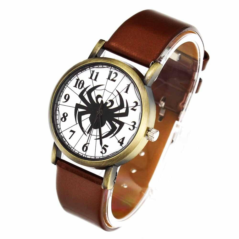 Black Spider Web Hombres Mujeres Relojes de Cuarzo PU Banda de Cuero - Relojes para hombres - foto 6