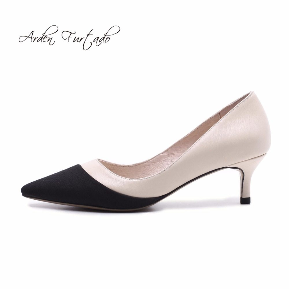 2f5d6ae4c2 Arden Furtado 2018 spring new style shoes for woman med heels 5cm slip on  genuine leather