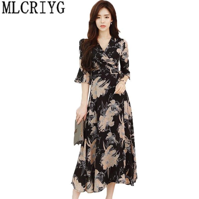 Grande taille M-5XL 2019 nouveau printemps automne Boho robe florale femmes Vintage col en V demi manches soirée robe de soirée robes LX153