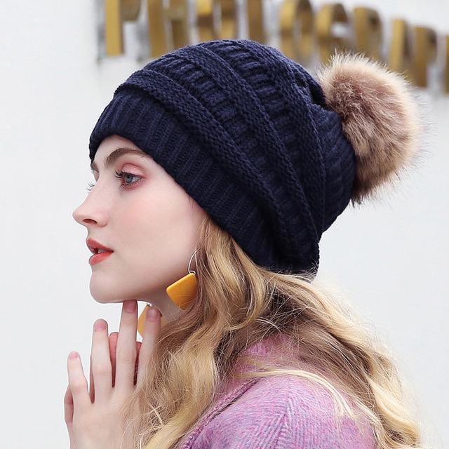 e4e59d5a232 2018 Thick Warm Winter Hat For Women Soft Stretch Cable Knitted Pom Poms Beanies  Hats Women s Skullies Beanies Girl Ski Cap