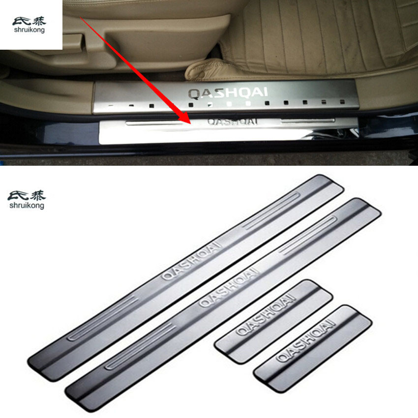 Free shipping 4pcs/lot car accessories stainless steel scuff plate door sill for Nissan qashqai 2009 2010 2011 2012 2013 - 2015 fit for volkswagen vw tiguan rear trunk scuff plate stainless steel 2010 2011 2012 2013 tiguan car styling auto accessories