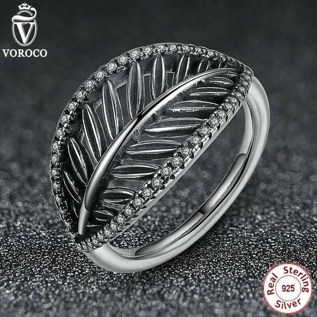 Authentic 925 Sterling Silver Rings for Women Tropical Palm Leaf Ring, Clear CZ Finger Ring Compatible With Pan Jewelry 7133