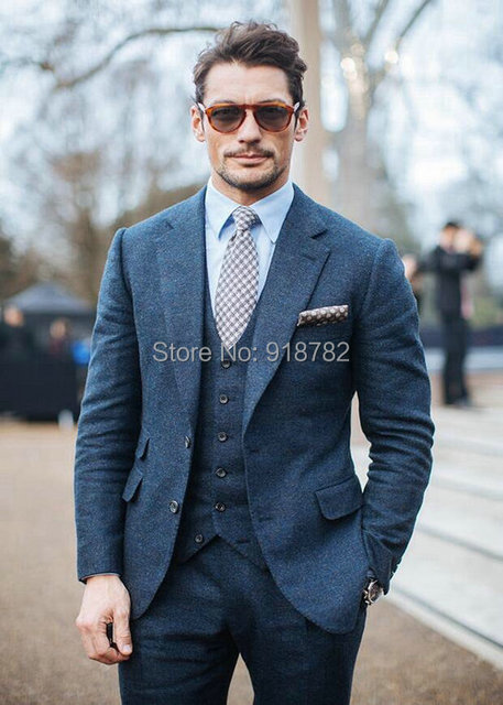 2017 Elegant New Blue And Green Groom Tuxedos Wool Men Suits ...