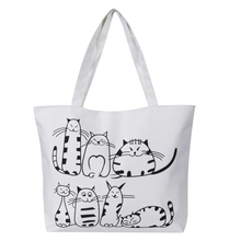 Women Canvas Handbag cartoon Cat Printed Shoulder bag Female Large Capacity Ladies Beach Bag Women Canvas Tote Shopping Handbags цена 2017