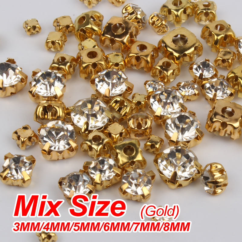 Detail Feedback Questions about Hot Sale Sew On Rhinestone Crystal Mixed 7 Sizes  3mm 10mm Gold claw   Silver claw glass Stones 300pcs DIY decoration ... 3354e7f654b8