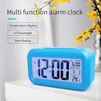 מעורר דיגיטלי שעון זמן נתונים LCD תצוגת פונקציה נודניק אלקטרוני תאורה אחורית חיישן מנורת לילה משרד שולחן תלמיד ילדי שעון